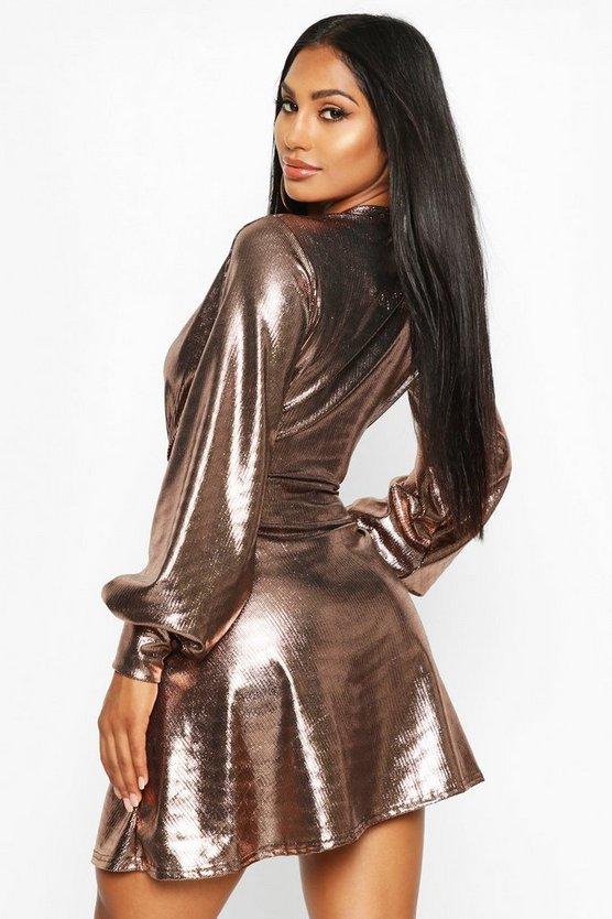 Metallic Plunge Skater Dress