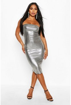 Silver Metallic Bandeau Midi Dress
