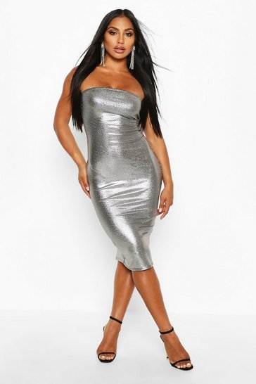 Womens Silver Metallic Bandeau Midi Dress