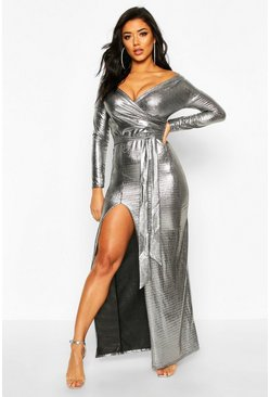 Womens Black Metallic Off The Shoulder Split Maxi Dress