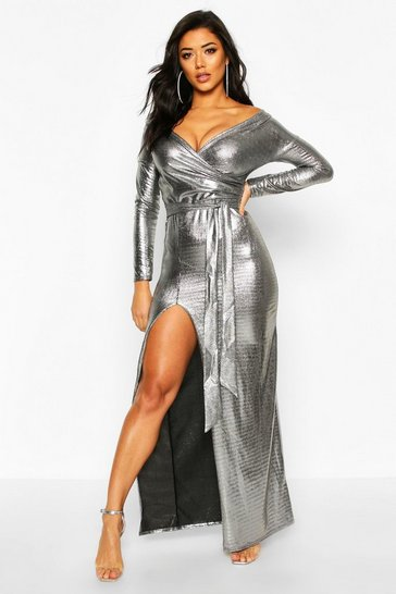Black Metallic Off The Shoulder Split Maxi Dress