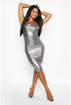 Womens Silver Metallic Strappy Midi Dress