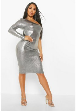 One-Shoulder-Midikleid in Metallic-Optik, Silber