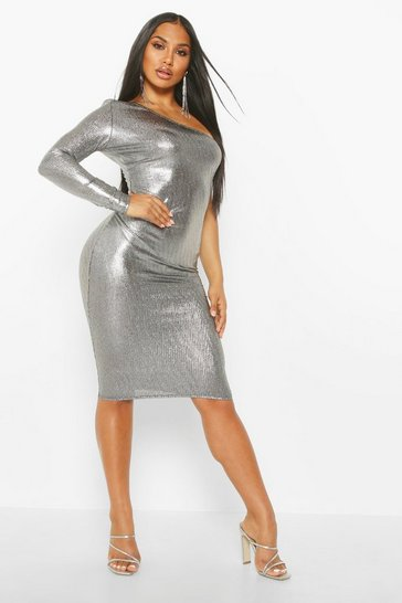 Silver Metallic One Shoulder Midi Dress