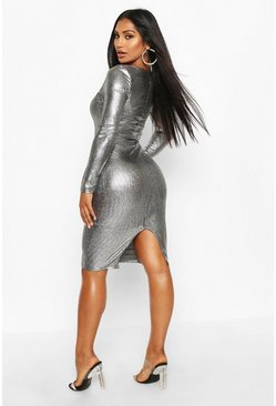Womens Silver Metallic Square Neck Midi Dress