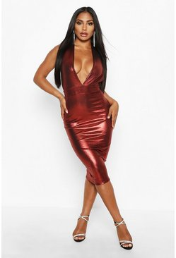 Womens Red Metallic Plunge Midi Dress