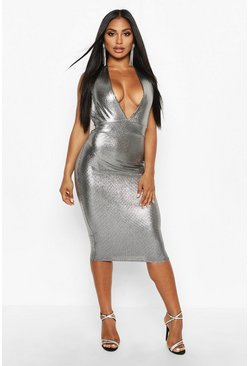 Womens Silver Metallic Plunge Midi Dress