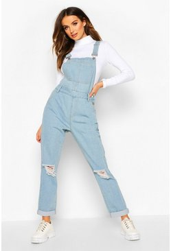 Light blue Distressed Denim Overall