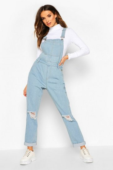 Light blue Distressed Denim Dungaree