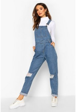 Mid blue Distressed Denim Overall
