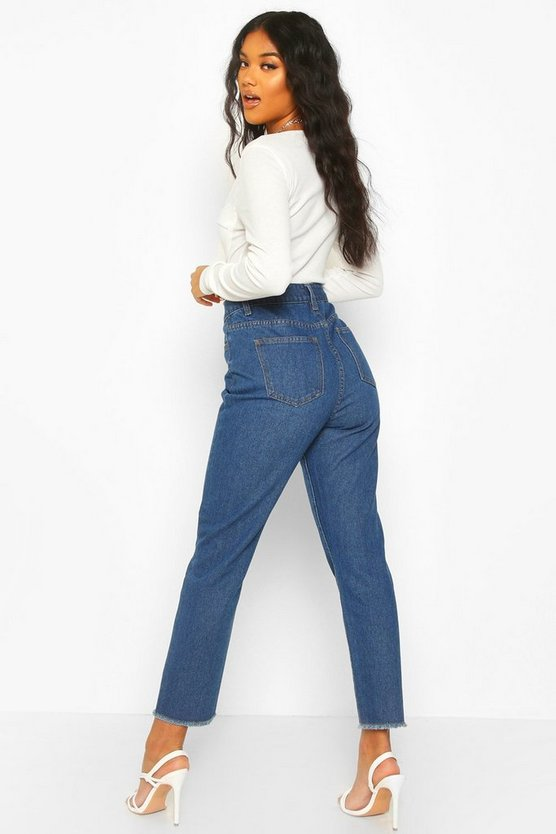 High Rise Frayed Hem Straight Leg Jean