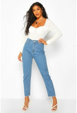 Light blue High Rise Frayed Hem Straight Leg Jean