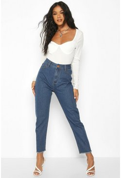 Dam Mid blue High Rise Frayed Hem Straight Leg Jean