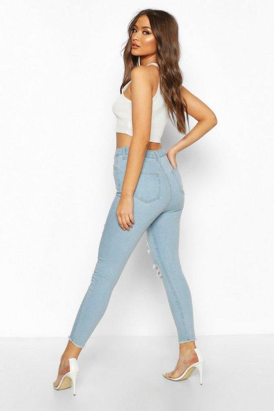 Frayed Hem Super Distressed Skinny Jean