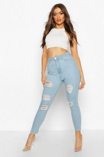 Light blue Frayed Hem Super Distressed Skinny Jean