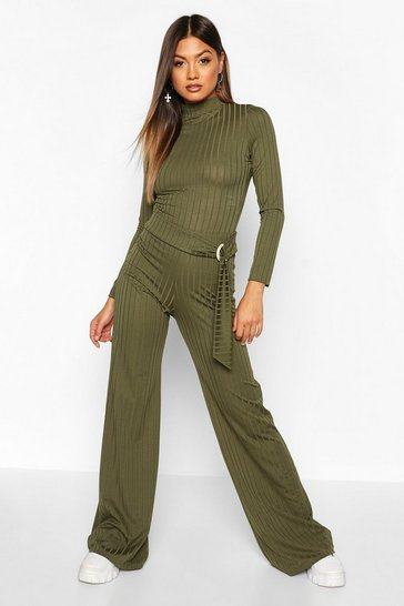 Womens Olive Recycled Wide Rib Trouser With D Ring Tie Detail