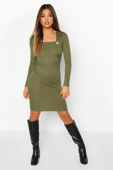 Womens Olive Recycled Wide Rib Midi Dress With Button Detail