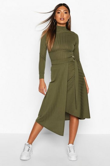 Womens Olive Recycled Wide Rib Skirt With D Ring Tie