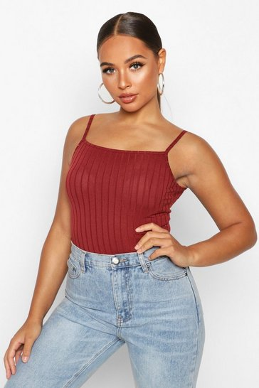 Berry Recycled Wide Rib Longline Cami Top