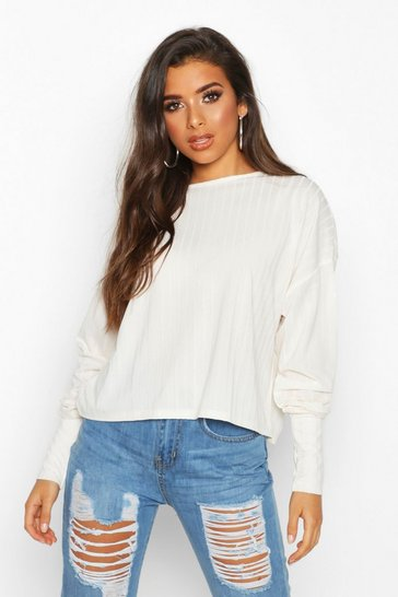 Oatmeal Recycled Wide Rib Deep Cuff Slouch Top