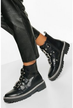Black Chain Detail Buckle Strap Biker Boots