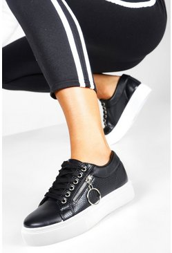 Black Snake Zip Side Chunky Platform Sneakers