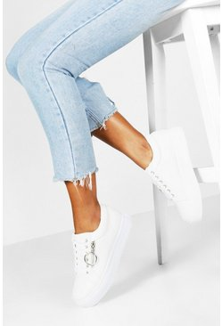 White Snake Zip Side Chunky Platform Sneakers