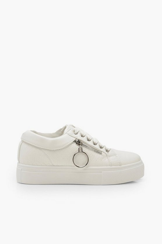 Snake Zip Side Chunky Platform Trainers