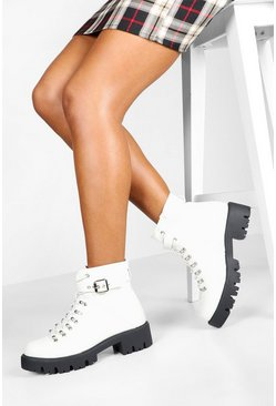 White Lace Up Cleated Hiker Boots
