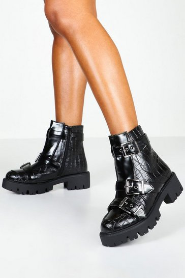 Womens Black Croc Multi Buckle Chunky Boots