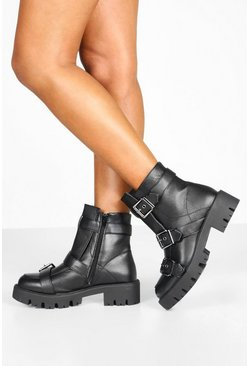 Black Buckle Trim Cleated Hiker Boots