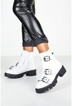 Womens White Buckle Trim Cleated Hiker Boots
