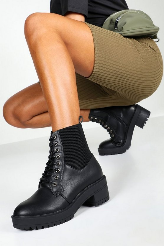 Black Elastic Panel Lace Up Chunky Hiker Boots