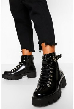 Womens Black Lace Up Cleated Hiker Boots