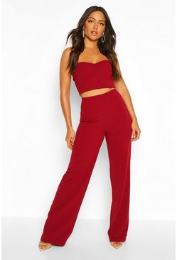 Berry Bandeau Bralet & Wide Leg Trouser Co-ord