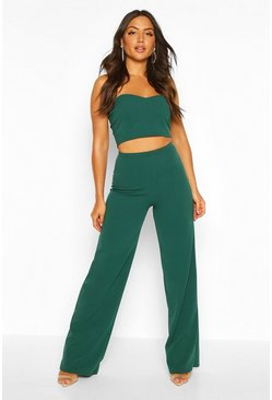 Womens Emerald Bandeau Bralet & Wide Leg Trouser Co-ord
