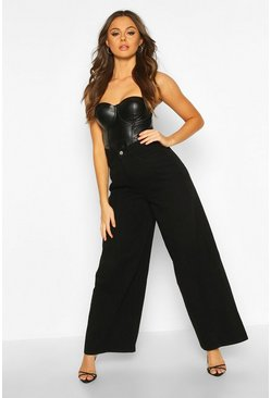 Black High Rise Seam Detail Wide Leg