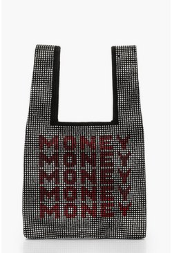 Black Money Money Money Diamante Mini Tote Bag