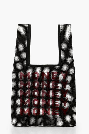 Womens Black Money Money Money Diamante Mini Tote Bag