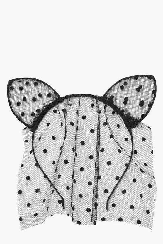 Halloween Dotty Mesh Veil Cat Ears