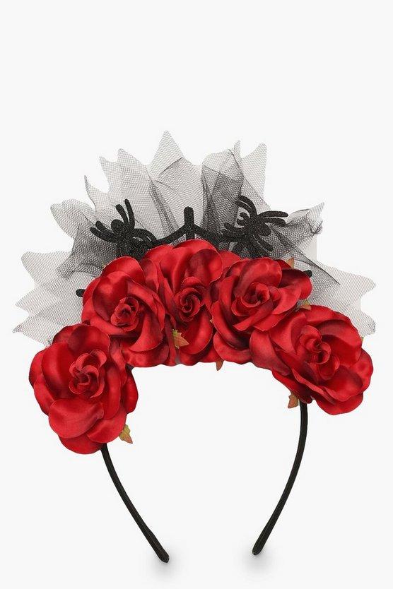 Halloween Rose & Spider Headband
