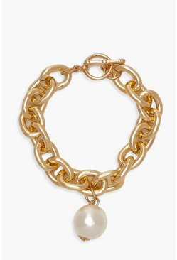 Gold Chunky Chain & Pearl Bracelet