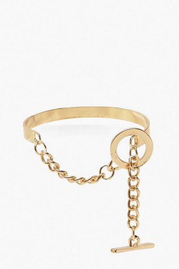 Womens Gold Hook & Bar Bangle