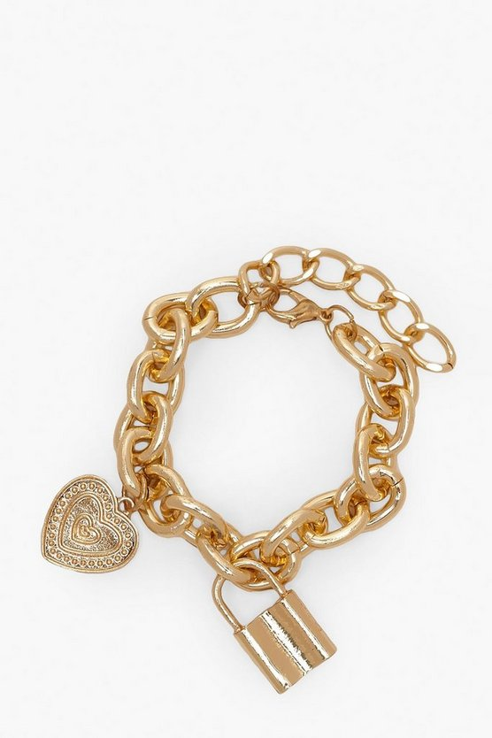 Gold Lock & Heart Pendant Chain Bracelet