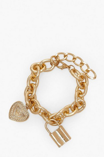 Womens Gold Lock & Heart Pendant Chain Bracelet