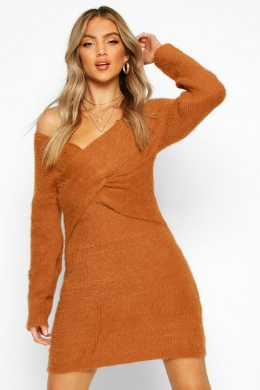 Toffee Fluffy Knit Wrap Front Mini Dress