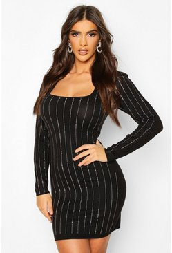 Black Diamante Detail Knitted Mini Dress