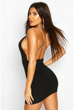 Black Diamante Trim Back Knitted Mini Dress