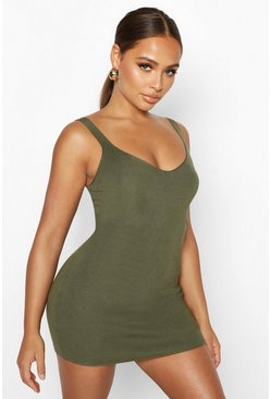 Womens Olive Premium Knitted Cupped Mini Bodycon Dress