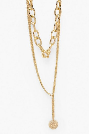 Womens Gold Layered Choker & Chain Necklace